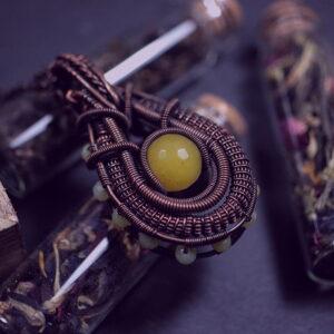 Miedziany wisior z jadeitami - Smocze Sny